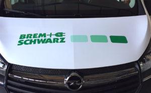 Fahrzeugbeschriftung Motorhaube farbige Folie