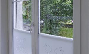 Beschriftung Fenster Milchglasfolie